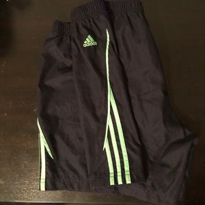 XL Adidas Shorts — Green Stripes